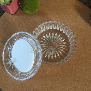 Vintage Clear Cut Glass Photo Jewelry Box